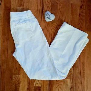 Land's End white bootcut corduroy pants